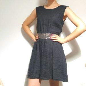 NWOT LINEN Charcoal Gray Dress w/ Sequin Waistband